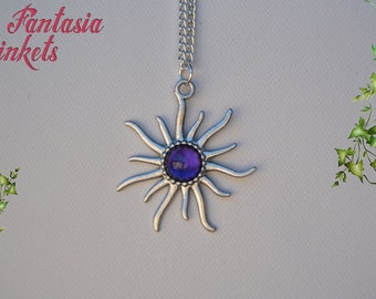 Silver Sun with Purple Glass Gem Pendant Necklace