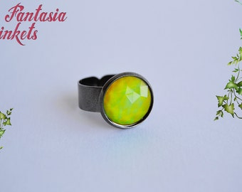 Mood Ring - Faceted Color Changing Stone on a Gun Metal Adjustable Ring