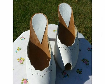 SALE...1970's White Scalloped  Polly Mules...SALE....