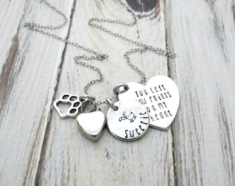 Personalized Pet Memorial Necklace - Cat - Remembrance Necklace - Dog - Urn Necklace - Paw Charm - Left Paw Prints on my Heart - Engrave