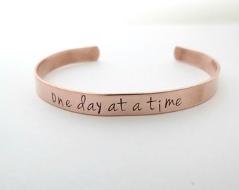 One Day at a Time - Inspirational Jewelry - AA Triangle - Recovery Bracelet -Personalized Bracelet -Personalized Jewelry - Sobriety Bracelet