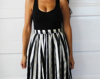 Black and White Plaid Maxi Skirt