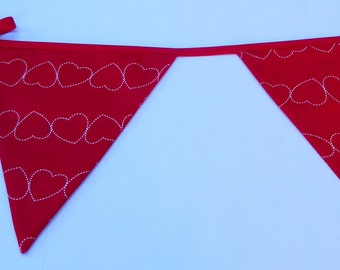 Heart Bunting - Red Bunting, Valentines Day, Bunting, Wedding Bunting, Engagement Bunting, Heart Bunting, Baby Bunting, Nursery Bunting