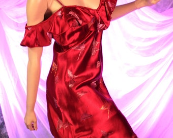 Red Satin Off The Shoulder Split Sleeve Wiggle Bombshell Dress with Butterfly Embroidery