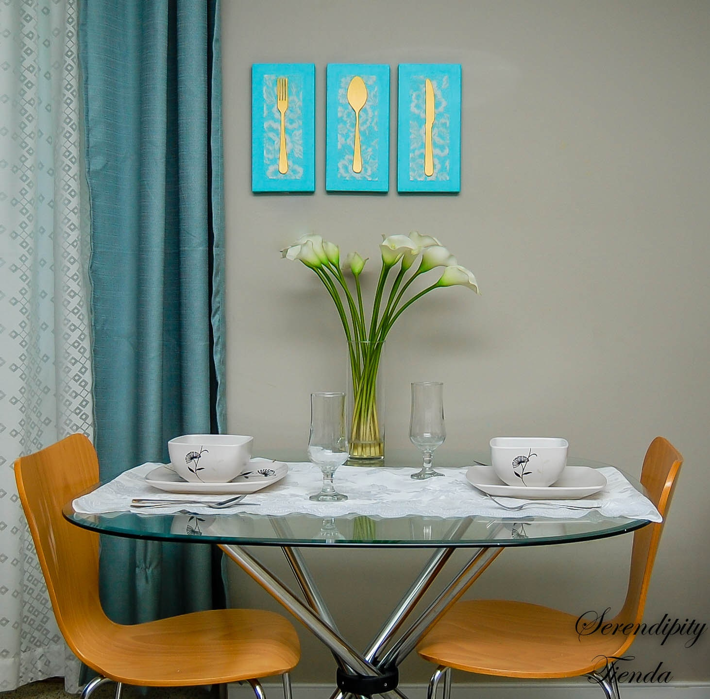 Dining room canvas set dining room wall decor gold and aqua for Canvas dining