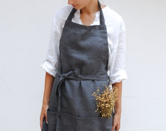 Linen kitchen apron with pockets, full linen apron, linen woman apron, natural linen apron, linen christmas gift