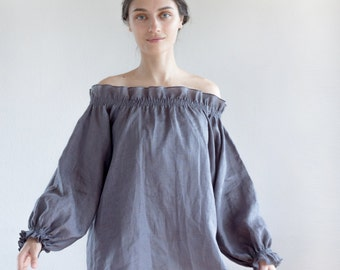 Graphite gray linen tunic, loose linen tunic, plus size linen tunic, linen womens clothing, summer linen top, linen tunics for women