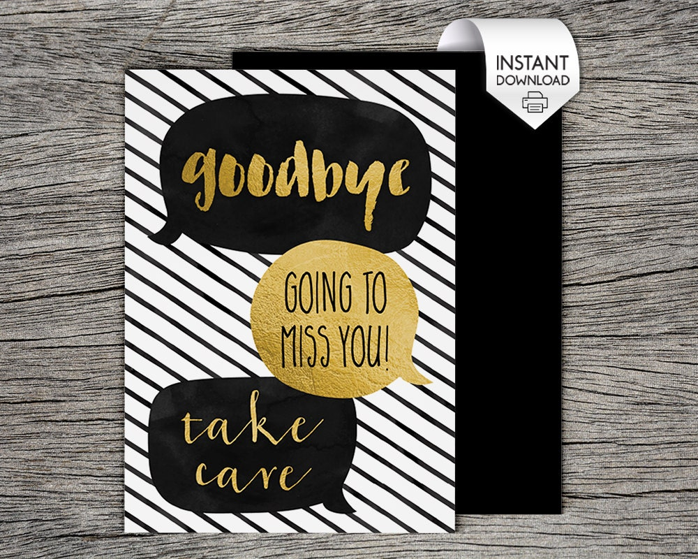 This is a picture of Amazing Printable Goodbye Cards