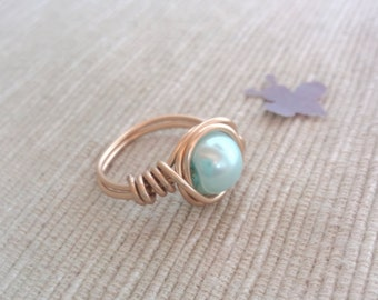 Gold Wire Ring,Wire Bead Ring,Wire Rings,Handmade Ring,Custom Light Blue Ring,Wire Ring,Gold Swirl Ring,Wire Wrapped Ring,Bohemian Ring