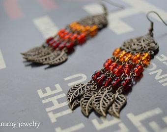 Fall earrings | Fall chandelier earrings| Autumn earrings | Orange dangle earrings| Shades of Orange | Halloween | Thanksgiving jewelry