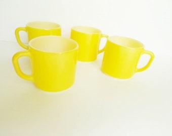 Set of 4 Yellow Milk Glass Mugs
