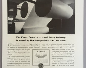 1941 First National Bank of Chicago Print Ad - Paper Industry