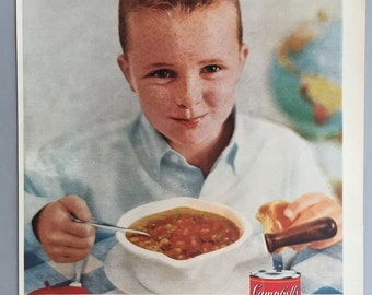 1959 Campbell's Vegetable Beef Soup Print Ad
