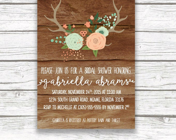 Wood Antler Rustic Floral Boho Bridal Shower Invitation, Mint and Pink, Mint and Peach, Calligraphy, Printed or Printable Invitation