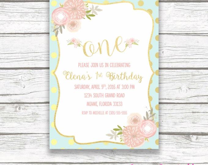 First Birthday Invitation Girl, Pink Mint Gold Birthday Invitation, One Birthday Invitation, Floral Invitation, 1st Birthday Printable