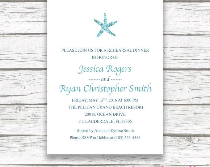 Beach Rehearsal Dinner Invitation, Starfish Rehearsal Dinner Invitation, Turquoise Rehearsal Dinner Invitation, Printable Rehearsal Invite