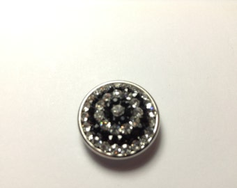 1-18mm Black and Clear Circle Rhinestone Snap Button
