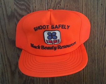 Vintage Neon Blaze Orange Deer Buck Hunting Shoot Safely Black Beauty Resources Trucker Hat Snapback Baseball Cap