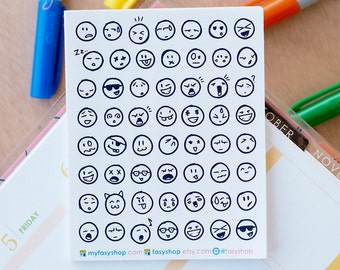 56 Emojis / Smiley Doodle Mini Icons -  Black & White Hand Drawn Sticker Planner