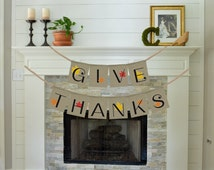 Give Thanks Banner-Thanksgiving Decoration-Thanksgiving Decor- Autumn Garland-Fall Banners With Maples-Burlap Thanksgiving Day Gift Banner
