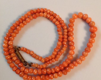 1800's Antique Jewelry, Antique Victorian Graduated Hand Carved Coral Necklace, Antique Coral Art Deco Jewelry