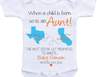Aunt Baby Announcement shirt Sister Promoted to Aunt Pregnancy Announcement Pregnancy Reveal to Aunt Birth Announcement Onesies Baby Reveal