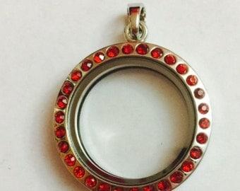 Round Locket With Red Rhinestones