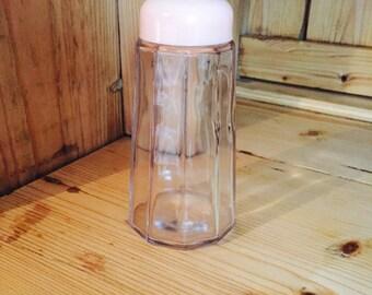 Vintage Glass Shaker Pink Plastic Lid Cute!