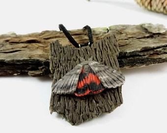 polymer clay jewelry - butterfly brooch - broun grey butterfly - insect jewelry - rosy underwing - catocala electa