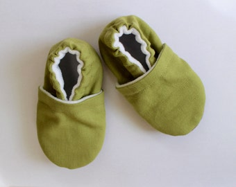 Olive Green Canvas Baby Shoes, Toddler Shoes, Baby Booties, Boy, Girl, Gender Neutral, Soft Soled