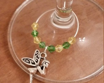 Pack of 2 : Inspired by Disney's Tinkerbell wine / champagne charms