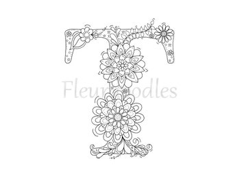 Adult Coloring Page Floral Letters Alphabet Y Hand