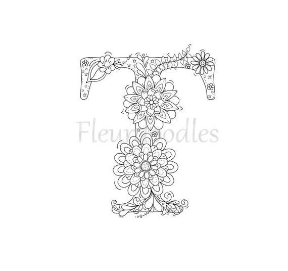 Adult Coloring Page Floral Letters Alphabet T Hand