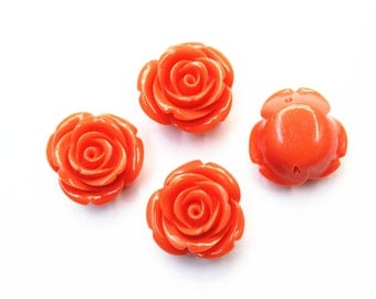 4pcs 23mm Resin Flower Beads, Jewelry Findings, Craft Supplies, Beading Supplies