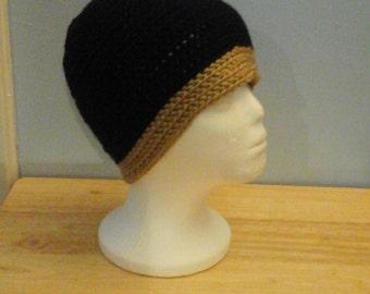 Black and Beige Crochet Hat
