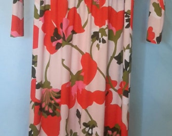 1970's bold print, scooped neck, floor length dress with long sleeves, size med
