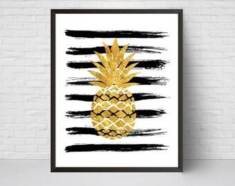 Gold Pineapple Abstract Brush Strokes Wall Art Print, Paint Strokes Art Printable, Black Gold Modern Art Home Room Decor, Minimalist Poster