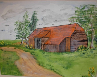 SUMMER SALE, Original Painting, Rustic Barn with Dirt Road, Acrylic,  Free Shipping