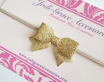 gold headband.mini hair bow.gold glitter hair bow.gold headband baby.gold baby hair clip. infant headband. newborn headband. glitter bow