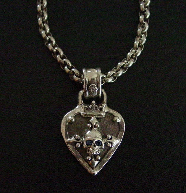 Sterling Silver Skull Guitar Pick Necklace Kenny Chesney
