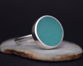 Aqua Resin Ring - Statement Ring - Solid Silver Resin Ring - Sea Green - UK Handmade