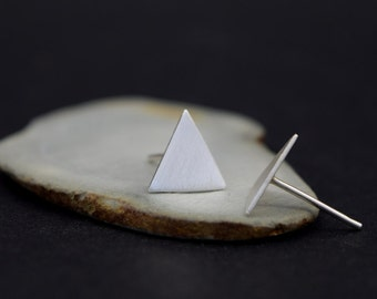 Silver Triangle Stud Earrings - Geometric Post Earrings - Solid Silver Studs - UK Handmade