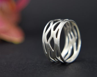 Wave Ring - Lattice Ring - Silver Spiral Ring - Cut Out Ring - Open Ring - Ocean Ring - UK Handmade
