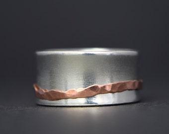 Silver & Copper Spinner Ring - Worry Ring - Hammered Spinner Ring - Fidget Jewellery - UK Handmade
