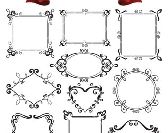 Hand Drawn Decorative Frame Border Digital Clip Art Scrapbook Embellishment Classic Calligraphy Png Clipart Instant Download Commercial Use