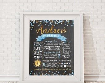 First Birthday Chalkboard Poster - Blue & Gold Confetti Birthday, Milestone Board, Baby Boy's 1st birthday party sign, Photo Prop