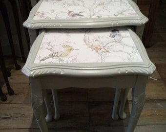 SOLD - Hand Painted Nest of Tables with Birds.