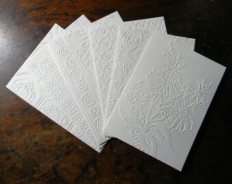 Any Occasion Embossed Greeting Card Set, Bohemian Pattern, Set of 6 Cards with Envelopes, Handmade Greeting Card Set, White or Ivory