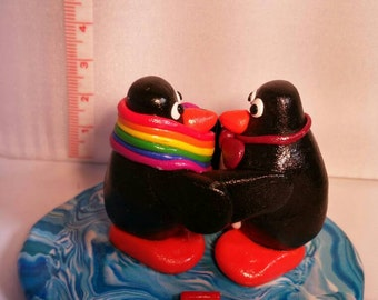 Gay Penguins statue made from Fimo/Polymer clay