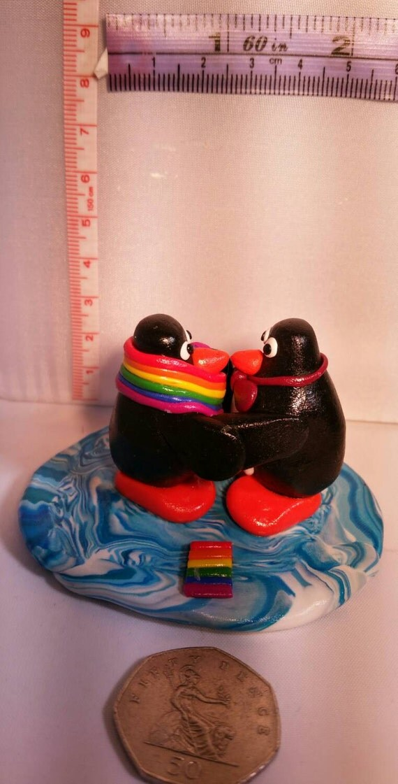 Gay Penguins Statue Made From Fimopolymer By -9010